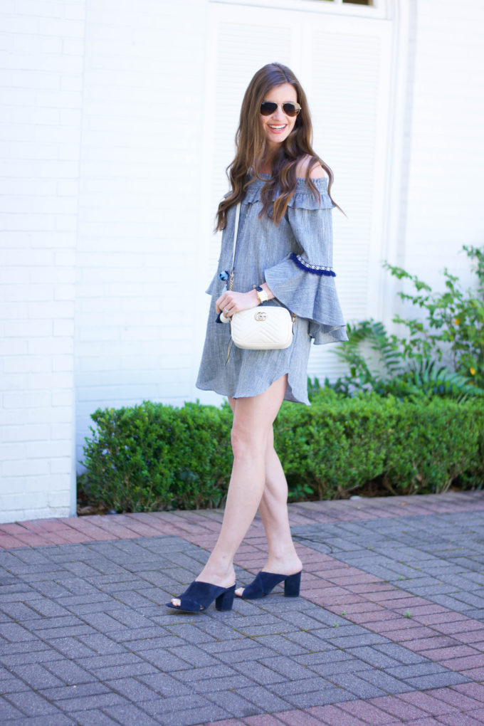 blue bell sleeve dress, white cross body, blue mules