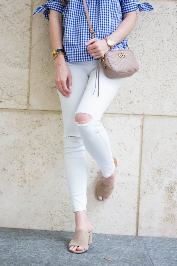distressed white denim, tan mules