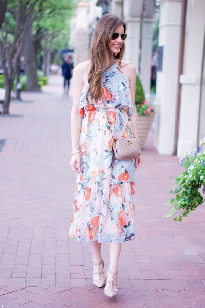 floral midi dress, rockstud heels, nude cross body bag