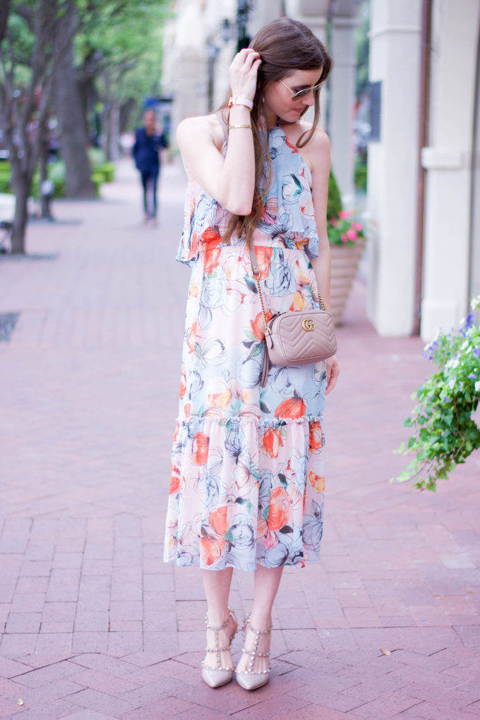 floral midi dress, nude leather crossbody bag