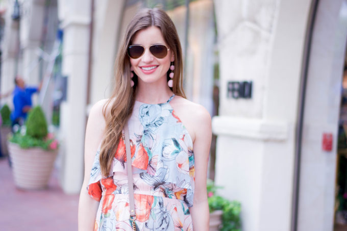 floral dress, statement earrings