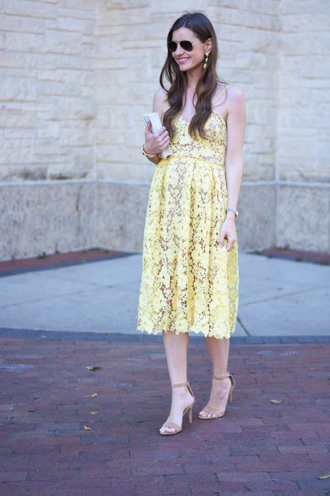 yellow lace midi dress