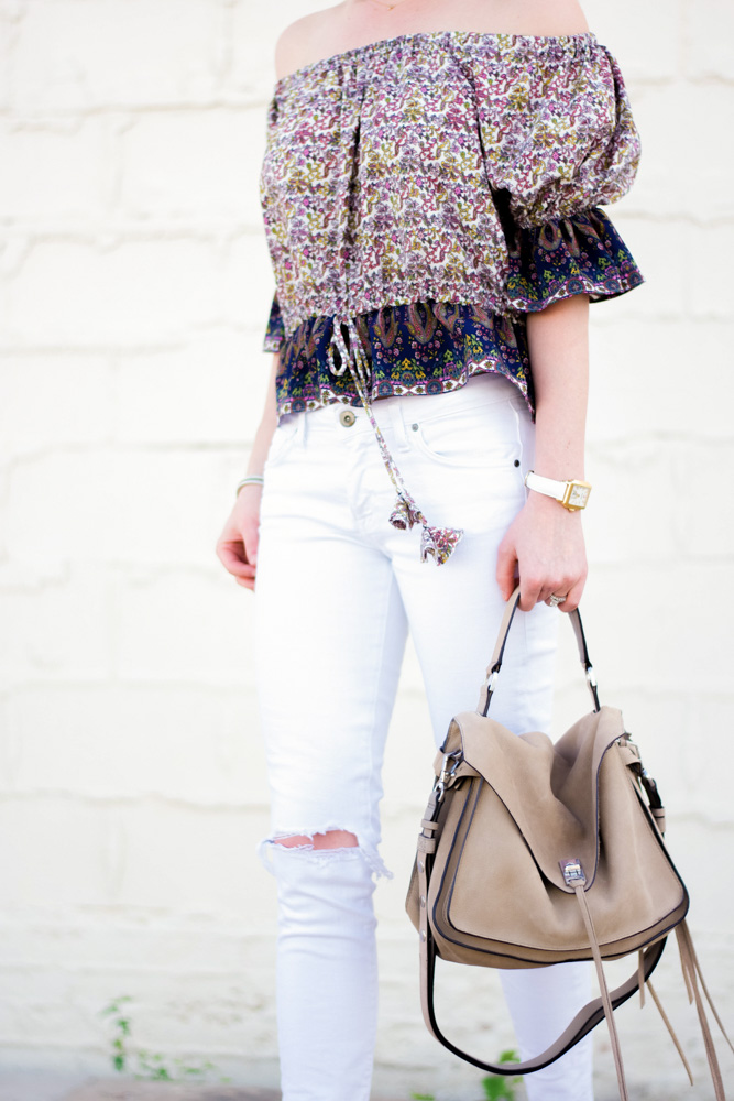 floral top, white jeans