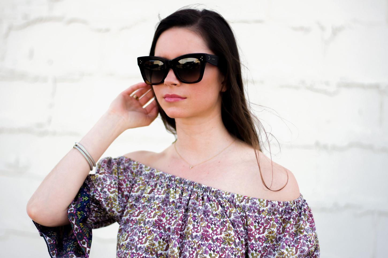 celine sunglasses, floral off the shoulder top