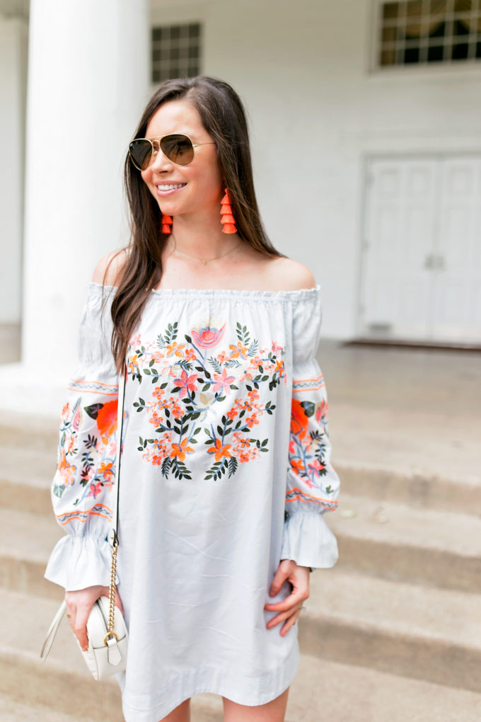 embroidered dress neon orange fringe earrings