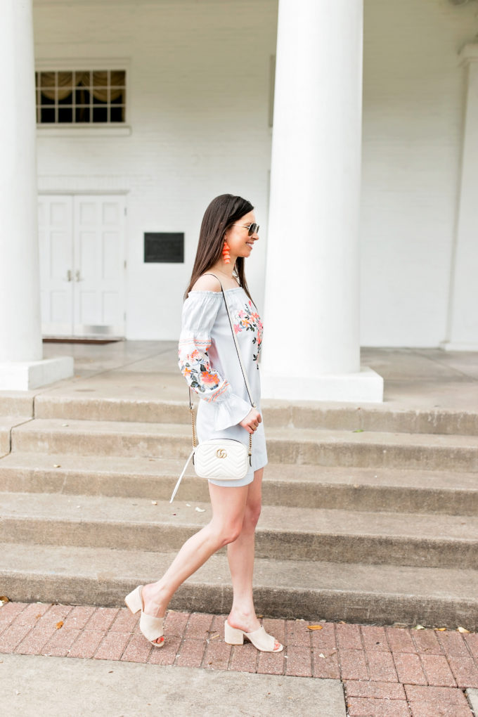 embroidered dress neutral mules and handbag