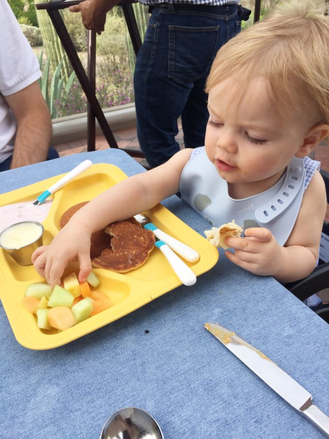 baby eating kid's meal
