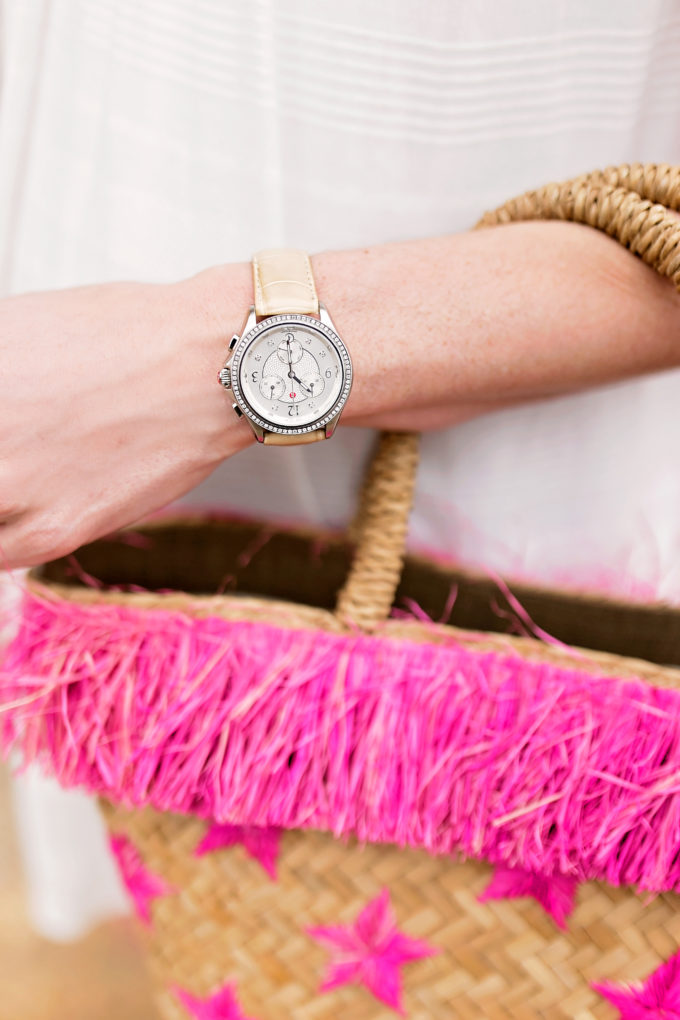 straw tote bag with hot pink fringe, ladies watch with tan aligator band