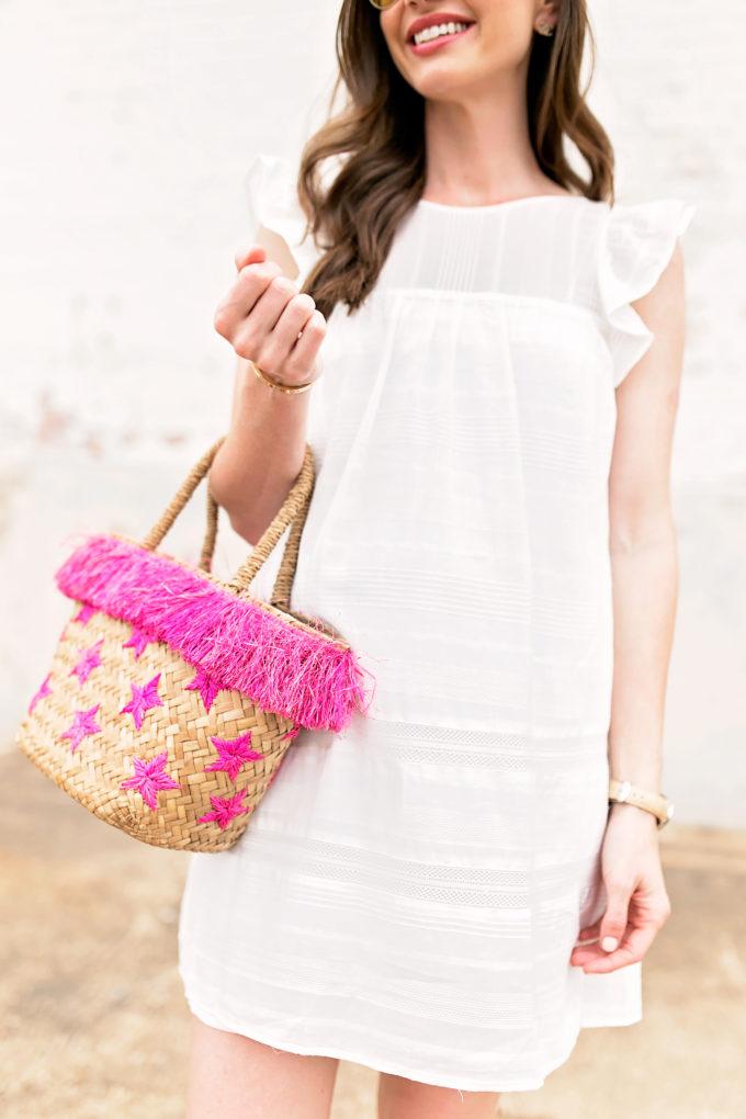 white dress straw tote bag