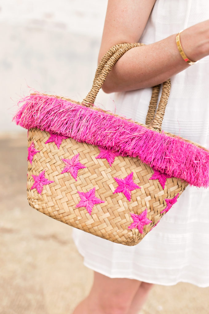 straw tote bag with hot pink accents