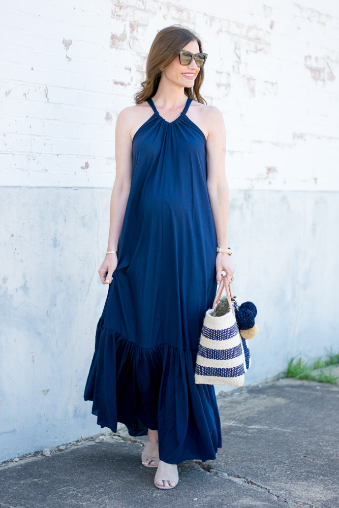 navy blue maxi, straw tote, tan mules