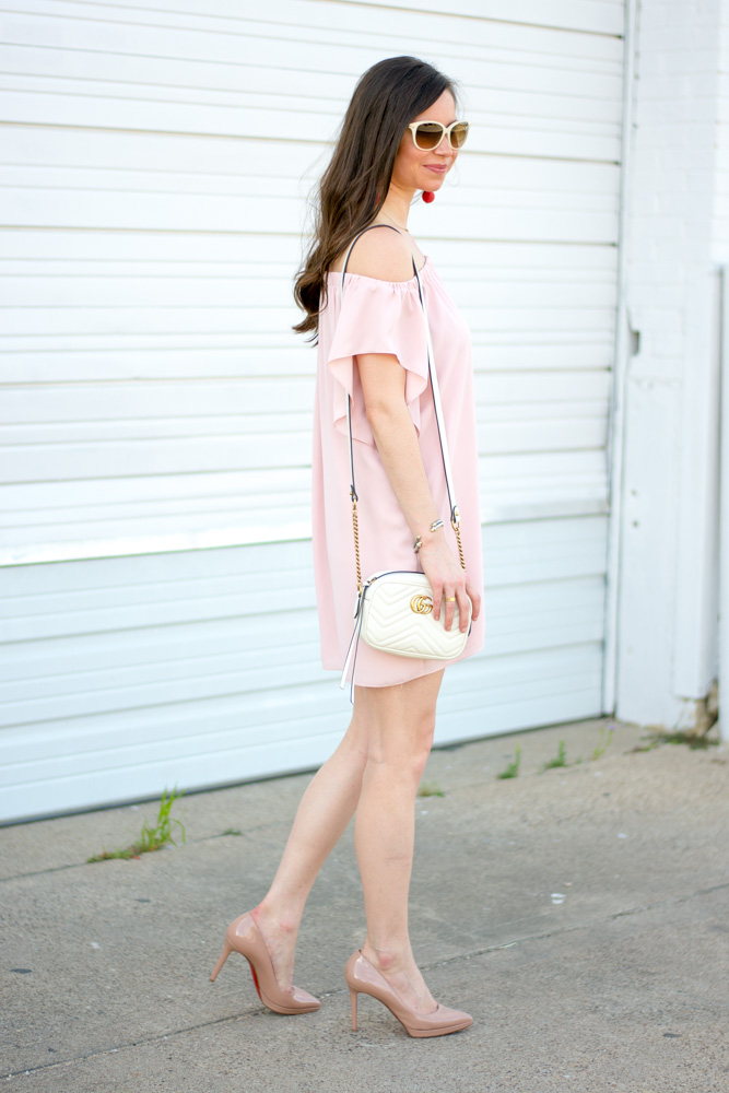 blush pink off the shoulder dress, white cross body bag