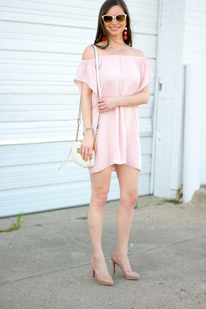 pink off the shoulder mini dress