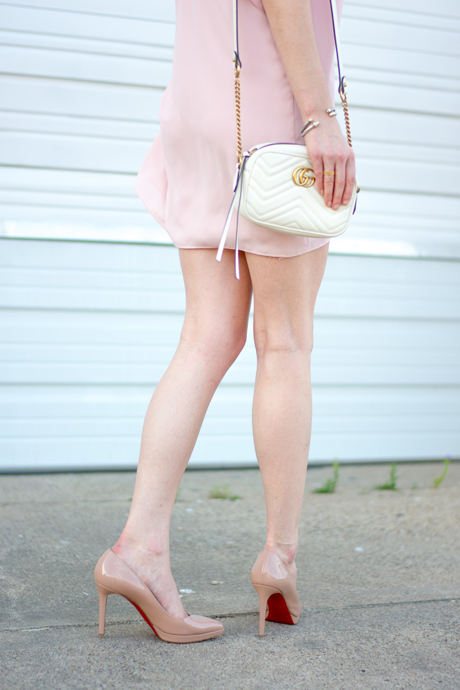 pink mini dress, nude patenet pumps