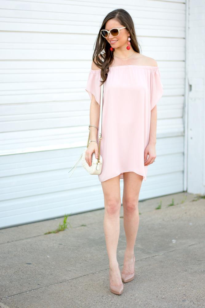 pink pff the shoulder dress