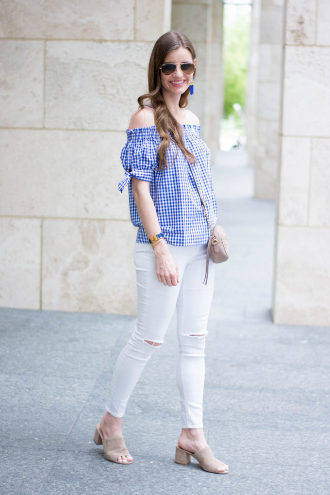 gingham top, white jeans