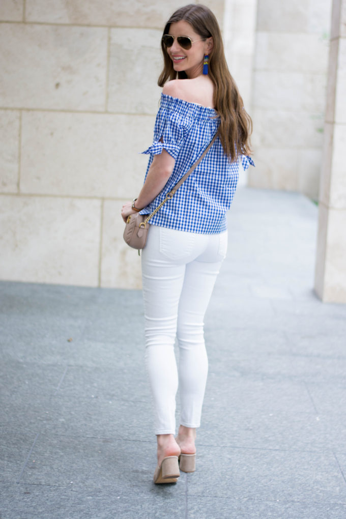 blue and white gingham top, white jeans