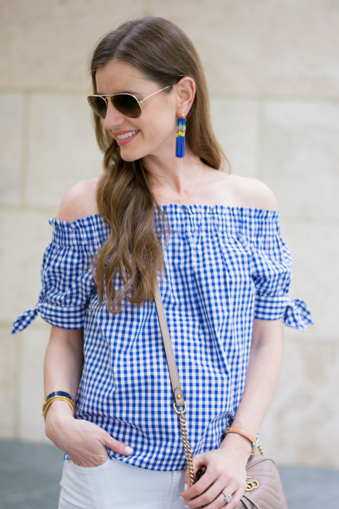 statement earrings, off the shoulder gingham top