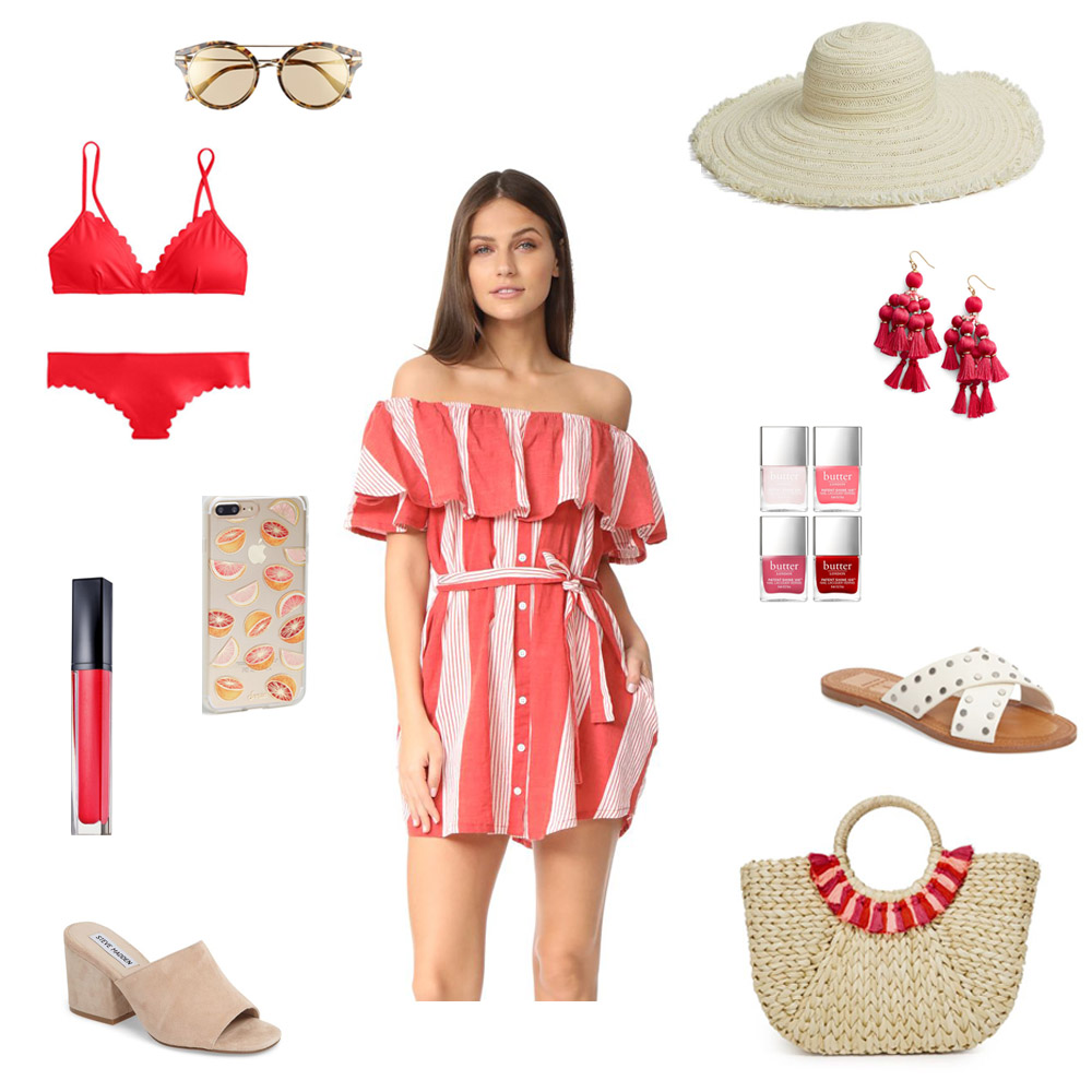 what to bring on vacation, red striped dress, pom pom tote