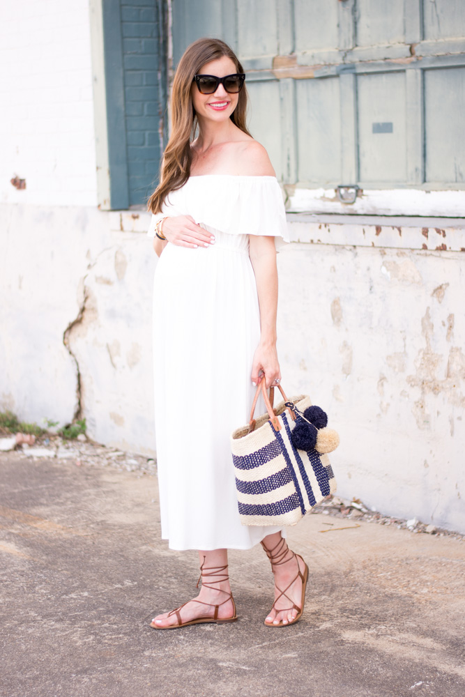 28 week bumpdate white off the shoulder maternity maxi dress