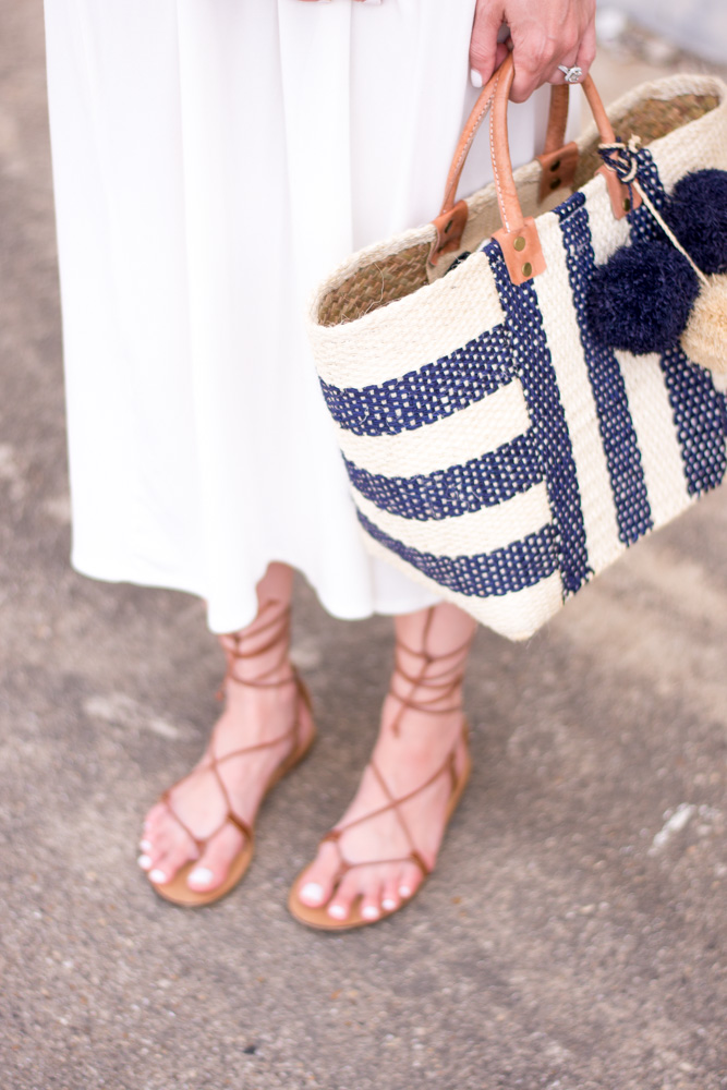 lace up sandals navy and white straw tote bag