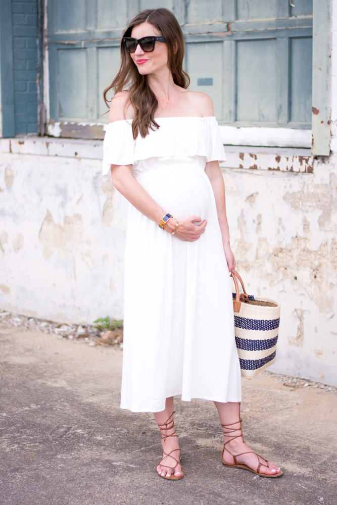 white off the shoulder maternity maxi dress