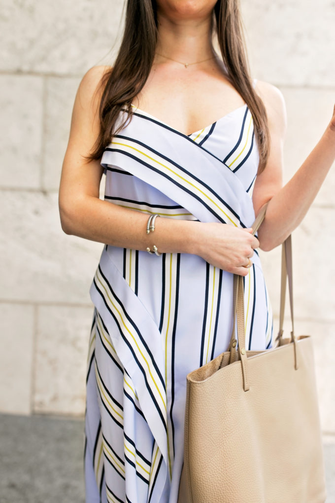 striped wrap front menswear inspired dress