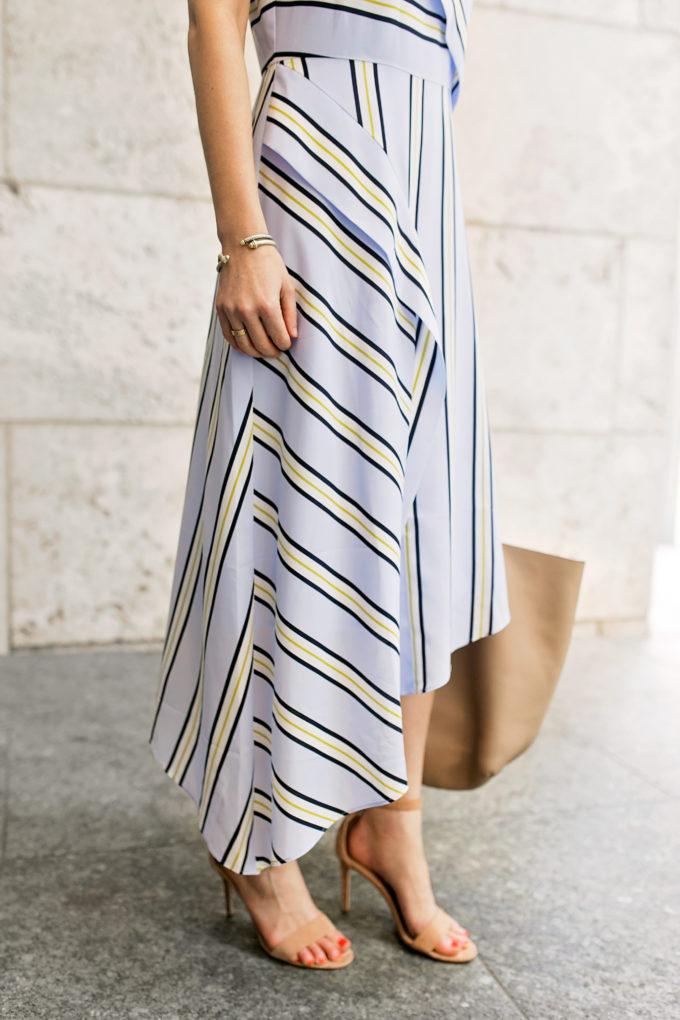 striped menswear inspired maxi dress