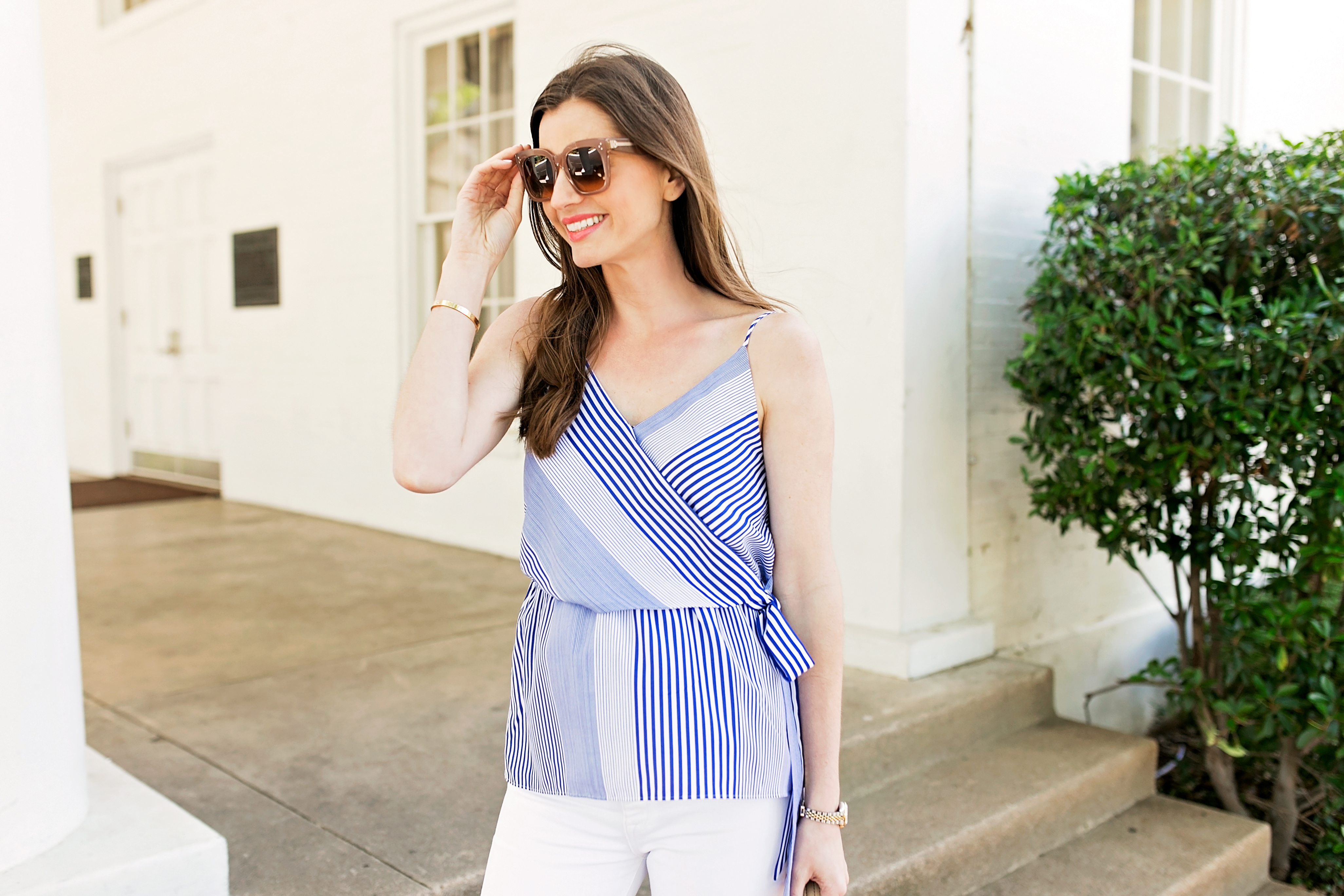 striped wrap front camisole