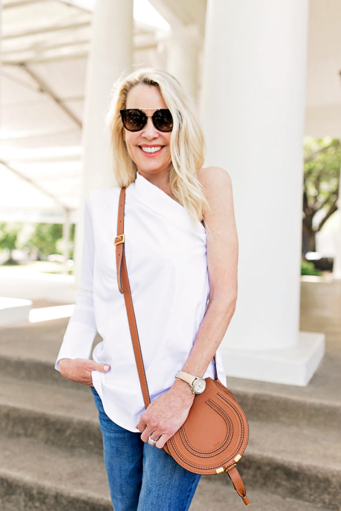 white one shoulder menswear inspired top