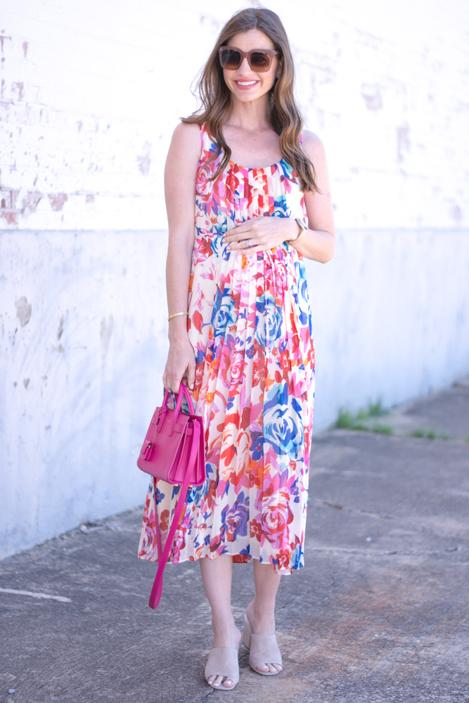 pleated floral maxi dress hot pink bag