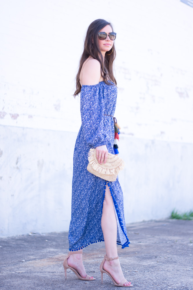 blue printed maxi dress, suede tan heels, straw clutch