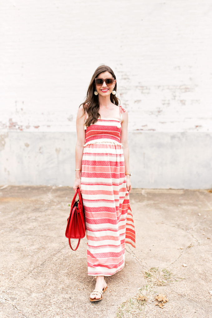 red and white striped maxi dress,