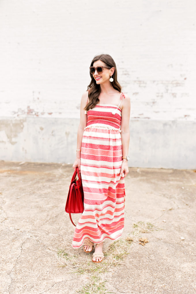 red and white striped maxi dress, red handbag