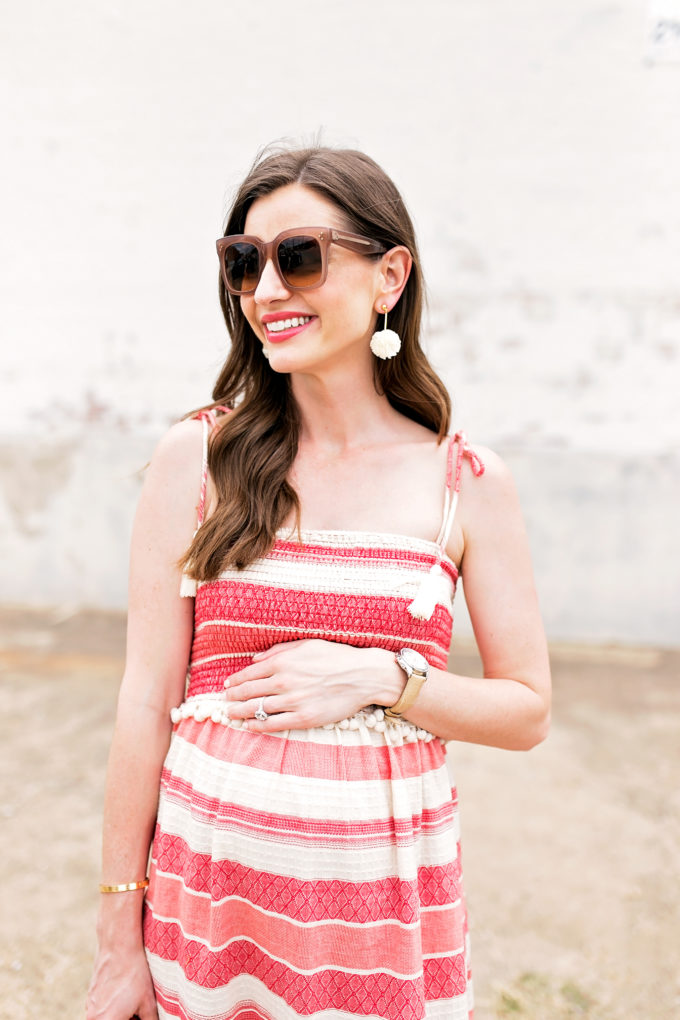 red and white maternity dress