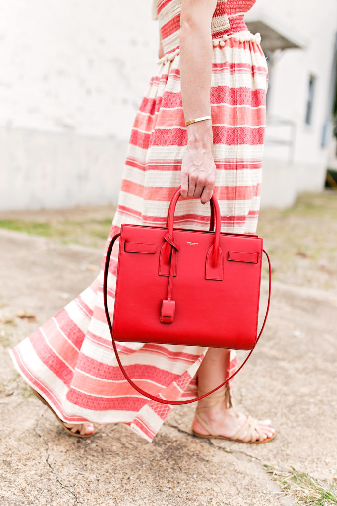red and white stripe maxi dress, red handbag