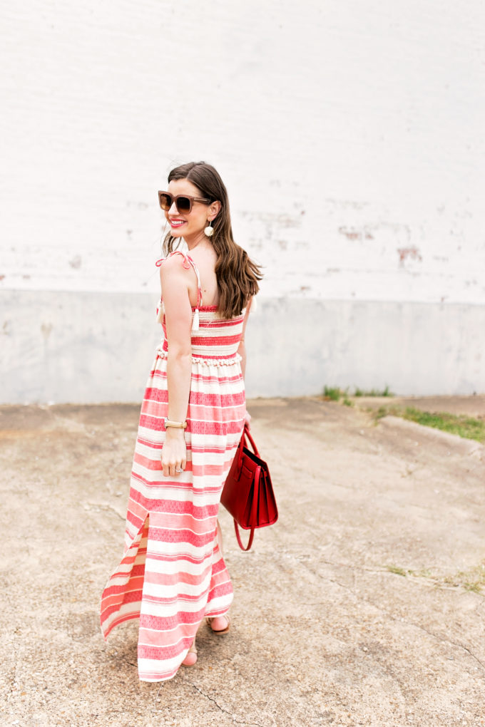 red and white stripe maxi dress, red handbag