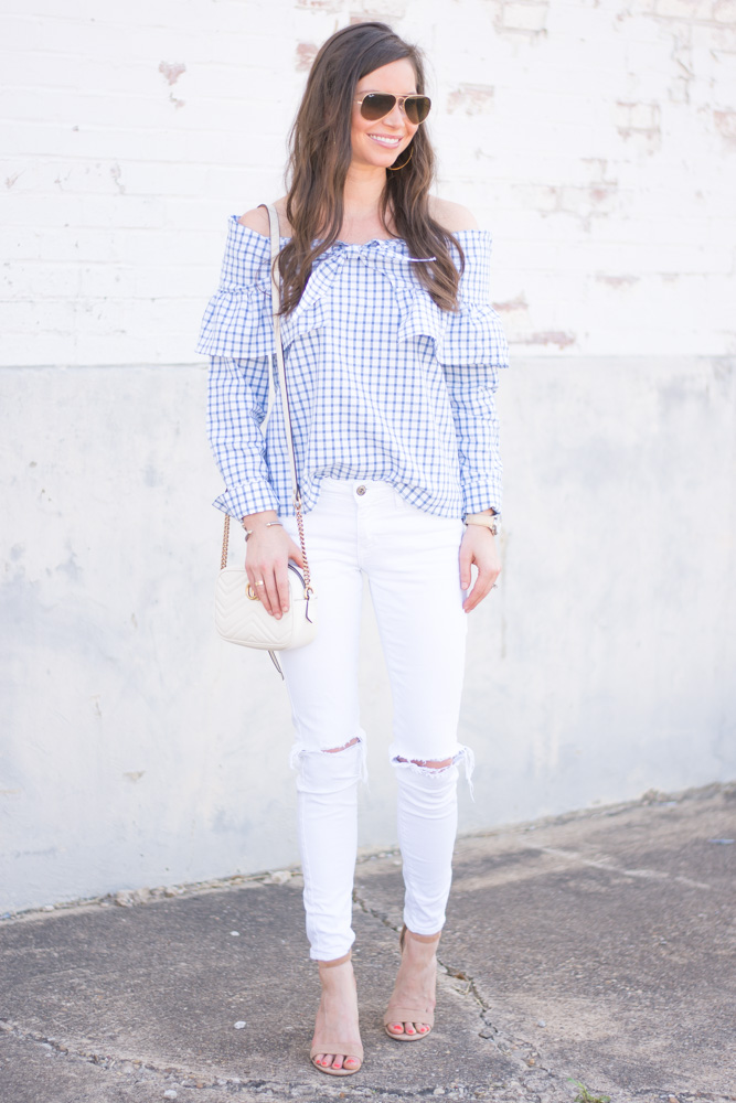 tie front top white jeans