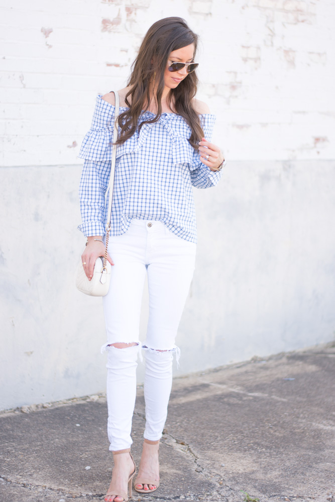 tie fron top white jeans white shoulder bag