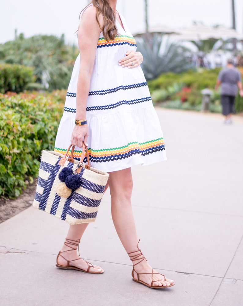 white ric rac dress navy and white straw tote bag