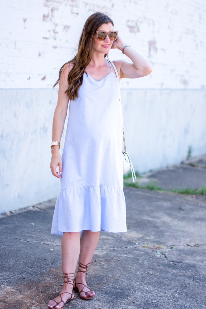 blue ruffle hem midi dress