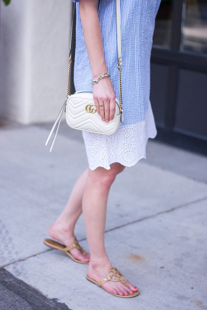 striped dress with eyelet hem gucci handbag