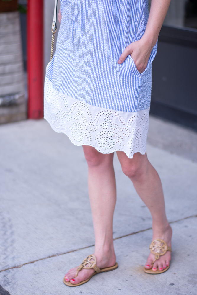 striped dress with eyelet hem