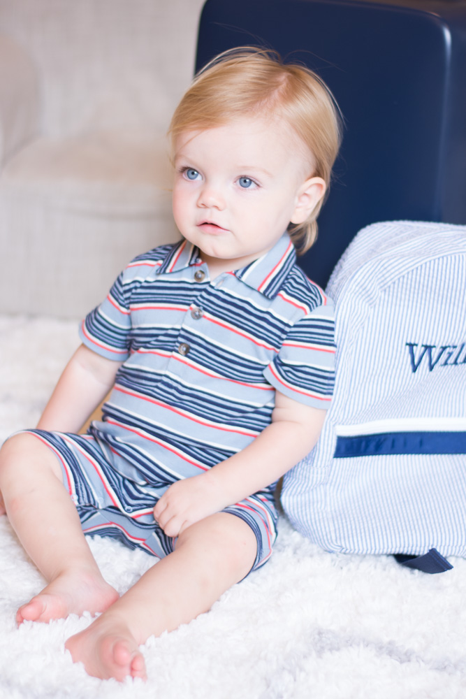 baby boy with personalized backpack