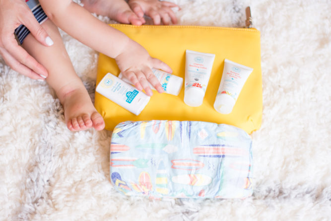 packing toddler essentials, diapers, bath products