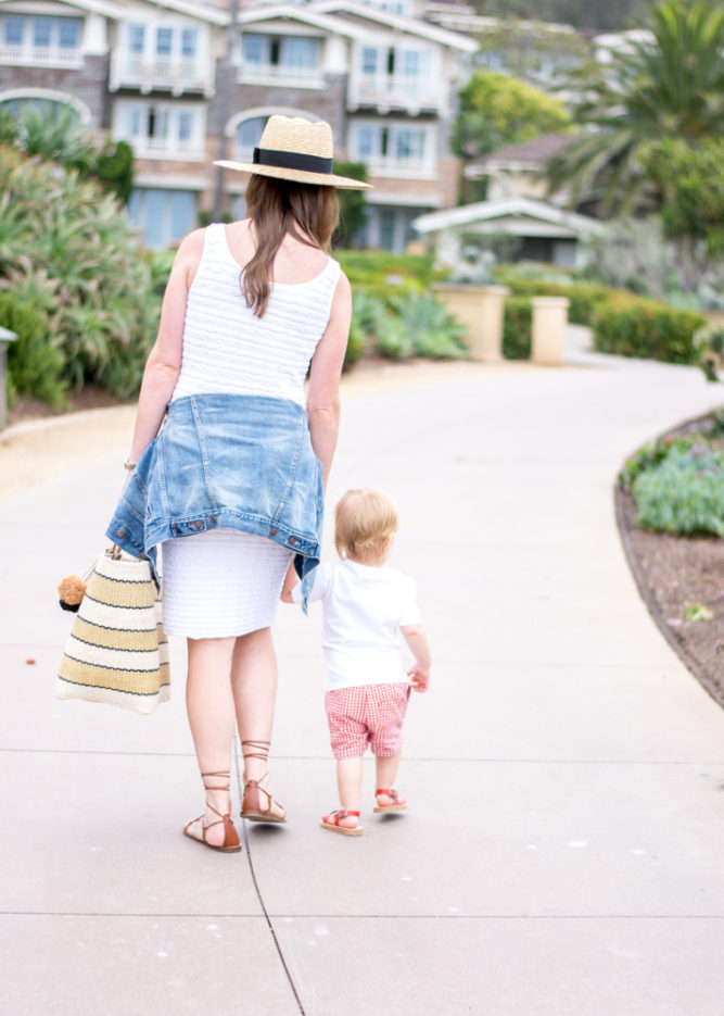 walking to the beach with toddler