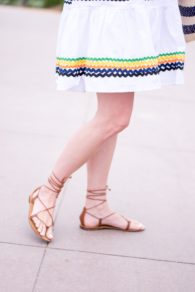 white ric rac dress lace up sandals