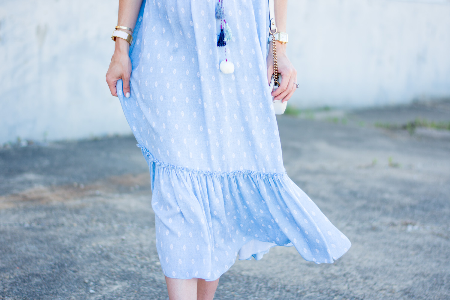 blue maxi dress with tassels