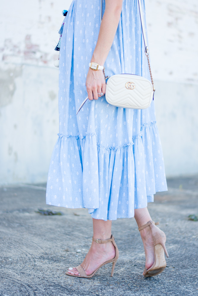 blue maxi dress with ruffle hem