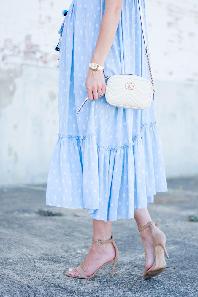 blue maxi dress with ruffle hem